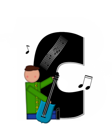 scores: The letter C, in the alphabet set Children Music is black and outlined with white.  Child is surrounded by musical notes.  Alphabet set includes guitars and musical scores. Stock Photo