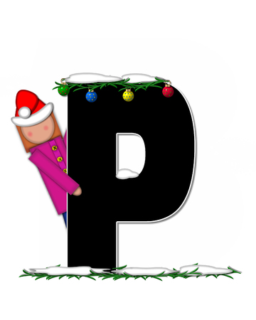 pine boughs: The letter P, in the alphabet set Children Christmas Ornaments, is decorated snow and pine boughs.  Child has Santa Claus hat nad decorates leter.