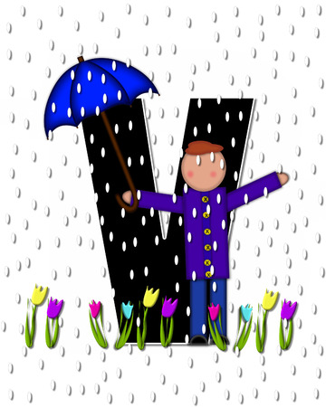 showers: The letter V, in the alphabet set Children April Showers is black and trimmed with white.  Child holds unbrella while rain drops fall on her and Spring tulips.