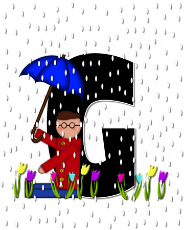 rain drops: The letter G, in the alphabet set Children April Showers is black and trimmed with white.  Child holds unbrella while rain drops fall on her and Spring tulips.