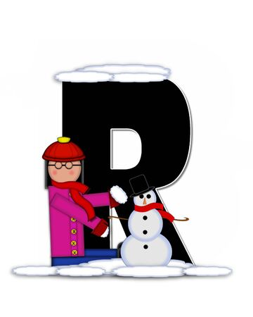 snow cap: The letter R, in the alphabet set Children Building Snowman is black and outlined with white.  Child holds wearing cap, scarf and mittens, holds snow ready to pack onto his snowman.
