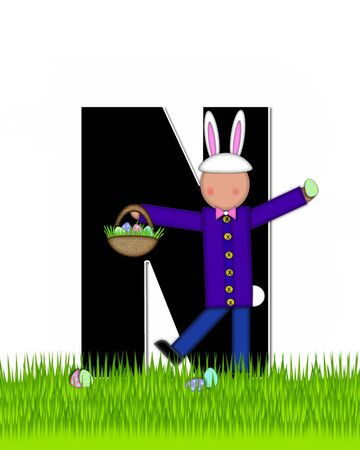 tall grass: The letter N, in the alphabet set Children Easter Eggs is black and trimmed with white.  Child with basket hunts for Easter eggs in the tall grass.