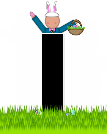 tall grass: The letter I, in the alphabet set Children Easter Eggs is black and trimmed with white.  Child with basket hunts for Easter eggs in the tall grass.