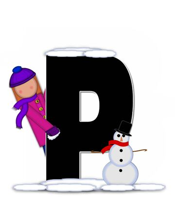 p buildings: The letter P, in the alphabet set Children Building Snowman is black and outlined with white.  Child holds wearing cap, scarf and mittens, holds snow ready to pack onto his snowman.