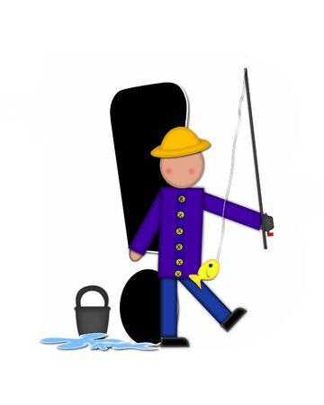 """point exclamation: Point d'exclamation, dans le jeu de l'alphabet """"Enfants Gone Fishing"""" est noir. Les lettres sont décorées avec des enfants, canne à pêche, poissons, l'eau et un seau."""
