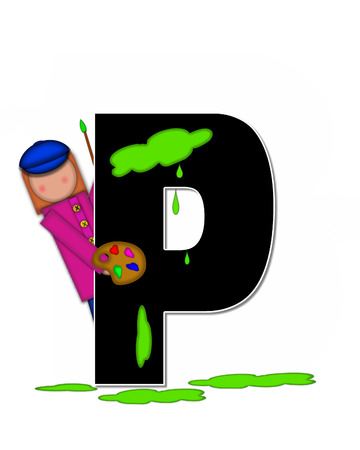 The letter P, in the alphabet set Children Creative, is black and outlined with white.  Child holds artist palette and paintbrush as she splashes paint on letter and floor. 版權商用圖片