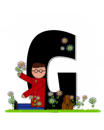 picking: The letter G, in the alphabet set Children Picking Flowers, is black outlined with white.  Children, pet dog, and flowers decorate letter.