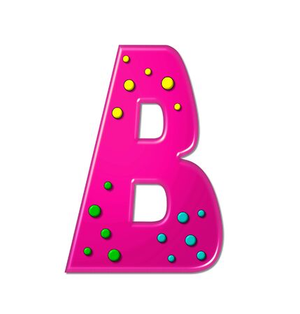 hot pink: The letter B, in the alphabet set Polka Dot Party, is hot pink.   3D multi-colored dots decorate letter.