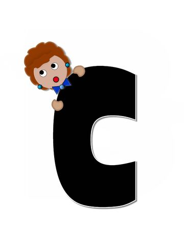 peek: The letter C, in the alphabet set Childlike Expressions, is black and outlined with white.  Children peek around edges of letters with a collection of different smiles and expressions.