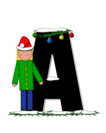boughs: The letter A, in the alphabet set Children Christmas Ornaments, is decorated snow and pine boughs.  Child has Santa Claus hat nad decorates leter.