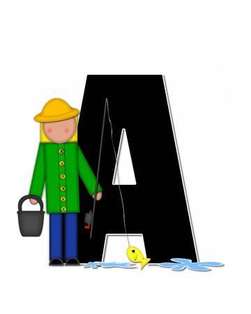 seau d eau: The letter A, in the alphabet set Children Gone Fishing, is black outlined with white.  Children, rod and reel, bucket, water and fish decorate letter. Banque d'images