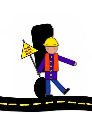 exclamation point: Exclamation point, in the alphabet set Children Highway Construction, is black and outlined with white.  Child stands or sits on highway holding highway construction signs.