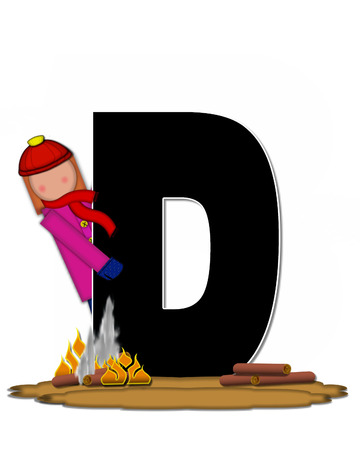 The letter D, in the alphabet set Children Camp Fire is black and outlined with white.  Children, are dressed in cap, scarf and mittens and at their feet is a camp fire. Stock Photo