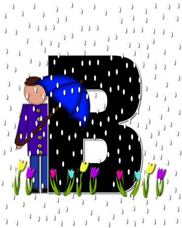 rain drops: The letter B, in the alphabet set Children April Showers is black and trimmed with white.  Child holds unbrella while rain drops fall on her and Spring tulips.