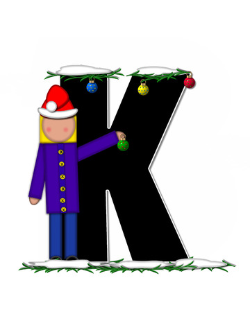 boughs: The letter K, in the alphabet set Children Christmas Ornaments, is decorated snow and pine boughs.  Child has Santa Claus hat nad decorates leter.