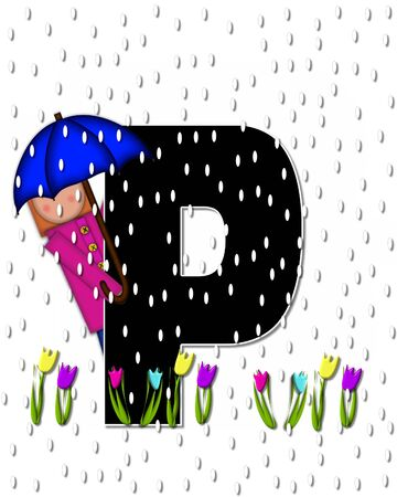 april showers: The letter P, in the alphabet set Children April Showers is black and trimmed with white.  Child holds unbrella while rain drops fall on her and Spring tulips. Stock Photo