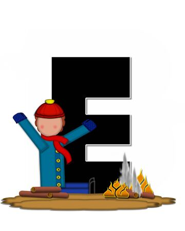 The letter E, in the alphabet set Children Camp Fire is black and outlined with white.  Children, are dressed in cap, scarf and mittens and at their feet is a camp fire. Stock Photo