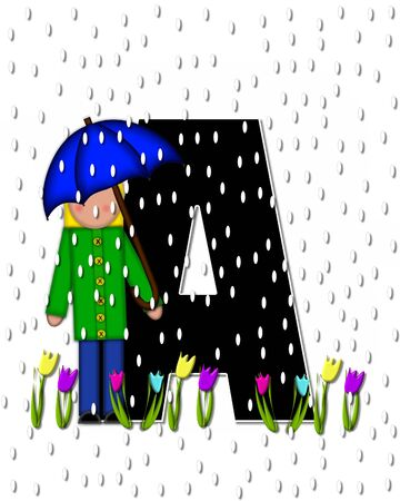 rain drops: The letter A, in the alphabet set Children April Showers is black and trimmed with white.  Child holds unbrella while rain drops fall on her and Spring tulips.