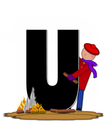 The letter U, in the alphabet set Children Camp Fire is black and outlined with white.  Children, are dressed in cap, scarf and mittens and at their feet is a camp fire. Stock Photo