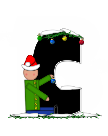 boughs: The letter c, in the alphabet set Children Christmas Ornaments, is decorated snow and pine boughs.  Child has Santa Claus hat nad decorates leter.