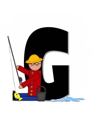 """seau d eau: La lettre G, dans l'ensemble de l'alphabet """"Pêche Enfants Gone,"""" est noir décrit avec le blanc. Les enfants, canne et moulinet, seau, eau et lettre de décorer des poissons. Banque d'images"""