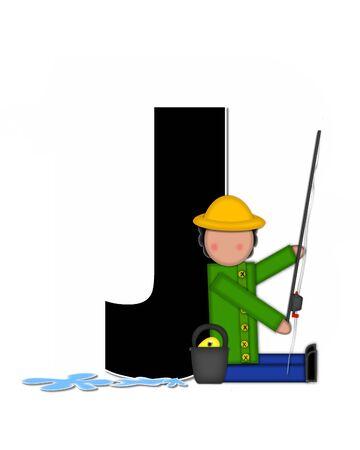 """seau d eau: La lettre J, dans l'ensemble de l'alphabet """"Pêche Enfants Gone,"""" est noir décrit avec le blanc. Les enfants, canne et moulinet, seau, eau et lettre de décorer des poissons. Banque d'images"""