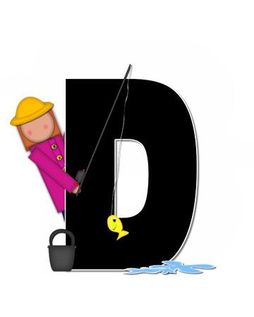"""seau d eau: La lettre D, dans l'ensemble de l'alphabet """"Pêche Enfants Gone,"""" est noir décrit avec le blanc. Les enfants, canne et moulinet, seau, eau et lettre de décorer des poissons. Banque d'images"""