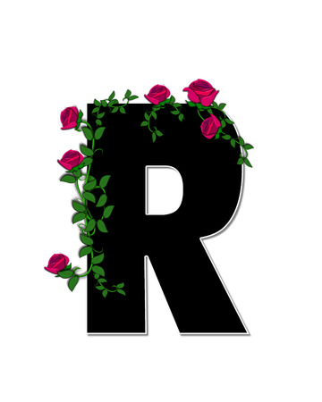 spread around: The letter R, in the alphabet set Rose Trellis, is black with white outline.  Roses and vines grow and spread around letter. Stock Photo