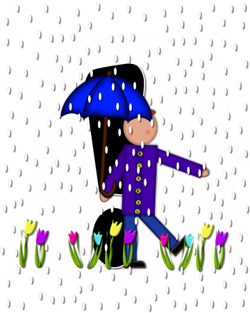 point exclamation: Exclamation point, in the alphabet set Children April Showers is black and trimmed with white.  Child holds unbrella while rain drops fall on her and Spring tulips.