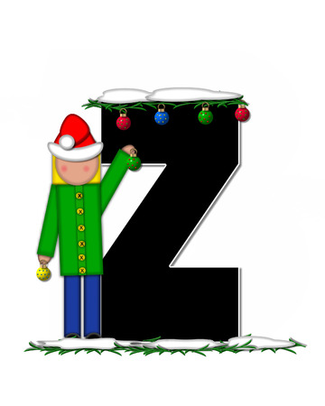 boughs: The letter Z, in the alphabet set Children Christmas Ornaments, is decorated snow and pine boughs.  Child has Santa Claus hat nad decorates leter.