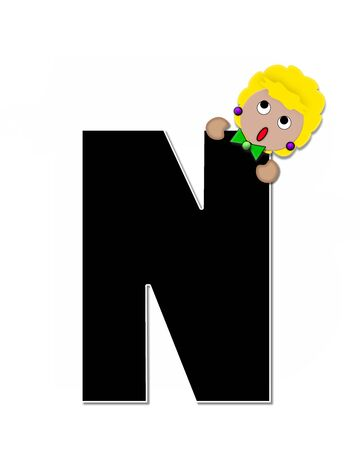 peek: The letter N, in the alphabet set Childlike Expressions, is black and outlined with white.  Children peek around edges of letters with a collection of different smiles and expressions. Stock Photo