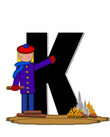 The letter K, in the alphabet set Children Camp Fire is black and outlined with white.  Children, are dressed in cap, scarf and mittens and at their feet is a camp fire.