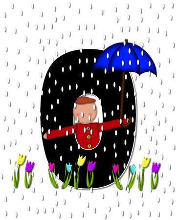 The letter O, in the alphabet set Children April Showers is black and trimmed with white.  Child holds unbrella while rain drops fall on her and Spring tulips.