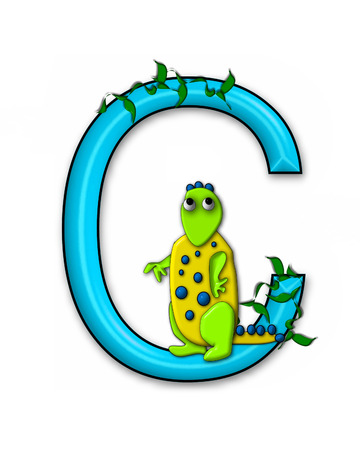 jungle vines: The letter C, in the alphabet set Dino Roaring, is decorated with jungle vines and a 3D dinosaur.