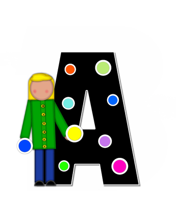 The letter A, in the alphabet set Children Decorating Letters is black and outlined with white.  Child is placing colorful polka dots all over letter. Stock Photo