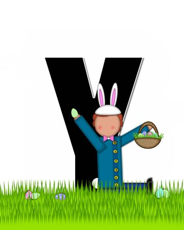 tall grass: The letter Y, in the alphabet set Children Easter Eggs is black and trimmed with white.  Child with basket hunts for Easter eggs in the tall grass. Stock Photo