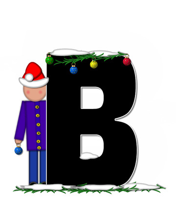 pine boughs: The letter B, in the alphabet set Children Christmas Ornaments, is decorated snow and pine boughs.  Child has Santa Claus hat nad decorates leter.