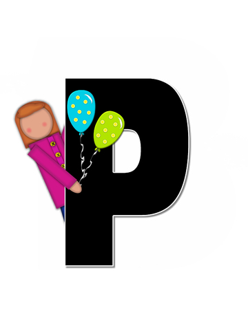 reflects: The letter P, in the alphabet set Children Play Time, is decorated a child holding toys that reflects the many things from childhood, including, yoyo, trucks, cars, dolls, sports equipment and stuffed toys.