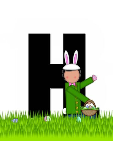 tall grass: The letter H, in the alphabet set Children Easter Eggs is black and trimmed with white.  Child with basket hunts for Easter eggs in the tall grass.