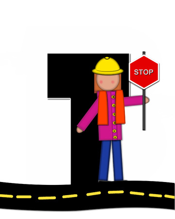 highway signs: The letter T, in the alphabet set Children Highway Construction, is black and outlined with white.  Child stands or sits on highway holding highway construction signs.