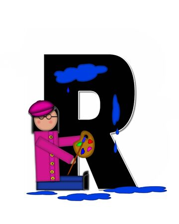 The letter R, in the alphabet set Children Creative, is black and outlined with white.  Child holds artist palette and paintbrush as she splashes paint on letter and floor.