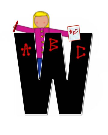 The letter W, in alphabet set Children ABCs is black.  Letters are decorated with colorful ABCs.  Child holds crayon and homework paper with the letters ABC on it. Stock Photo