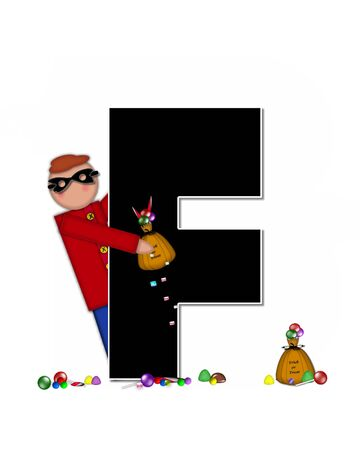 wears: The letter F, in the alphabet set Children Trick or Treat is decorated a child holding a bag of trick or treat candy.  Candy sits at childs feet and child wears a black, Halloween mask.