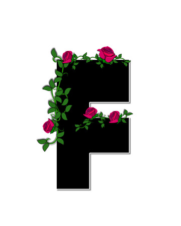 trellis: The letter F, in the alphabet set Rose Trellis, is black with white outline.  Roses and vines grow and spread around letter.