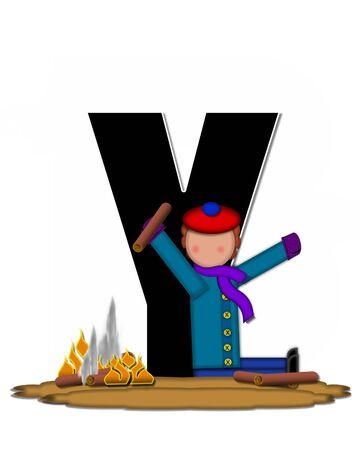 The letter Y, in the alphabet set Children Camp Fire is black and outlined with white.  Children, are dressed in cap, scarf and mittens and at their feet is a camp fire. Stock Photo