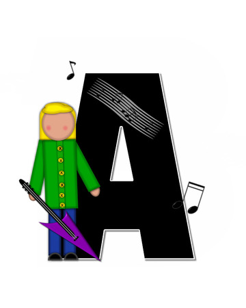 scores: The letter A, in the alphabet set Children Music is black and outlined with white.  Child is surrounded by musical notes.  Alphabet set includes guitars and musical scores. Stock Photo