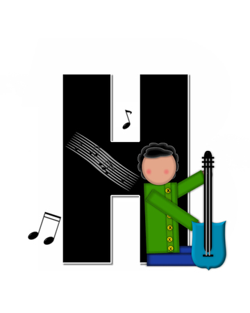 scores: The letter H, in the alphabet set Children Music is black and outlined with white.  Child is surrounded by musical notes.  Alphabet set includes guitars and musical scores. Stock Photo