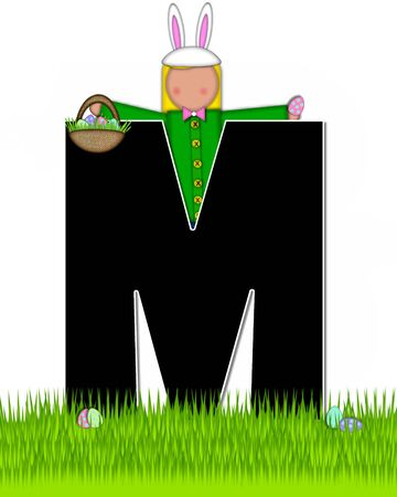 tall grass: The letter M, in the alphabet set Children Easter Eggs is black and trimmed with white.  Child with basket hunts for Easter eggs in the tall grass.