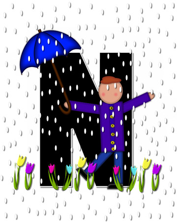 The letter N, in the alphabet set Children April Showers is black and trimmed with white.  Child holds unbrella while rain drops fall on her and Spring tulips.