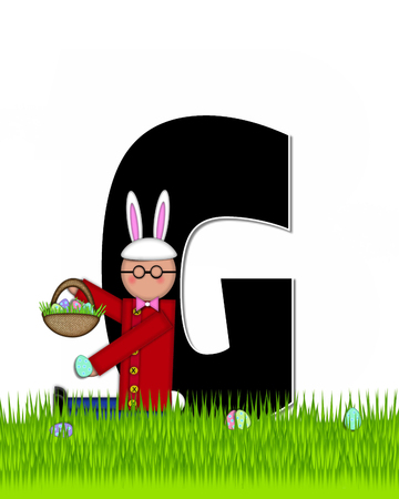 tall grass: The letter G, in the alphabet set Children Easter Eggs is black and trimmed with white.  Child with basket hunts for Easter eggs in the tall grass.